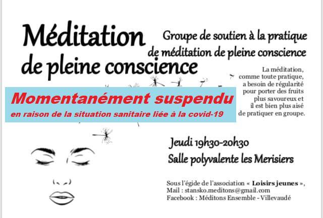Méditation de pleine conscience temporairement suspendu