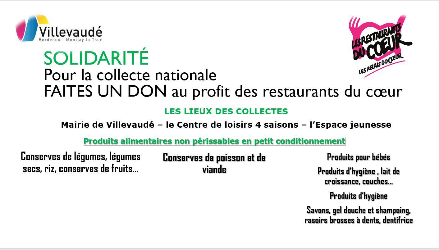 Collecte nationale au profit des restaurants du coeur